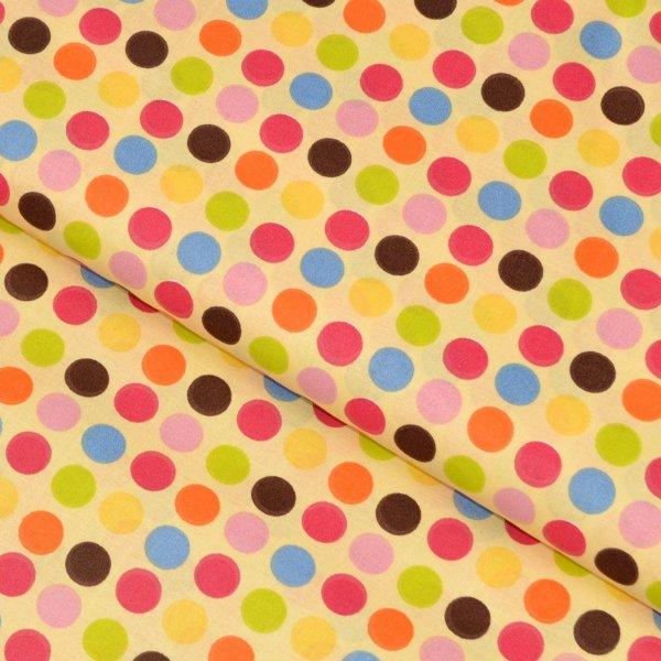 Dětská bavlněná metráž vanilková barevné puntíky