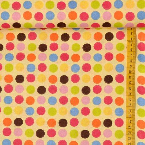 100 bavlna metráž na závěsy světle žlutá puntíky