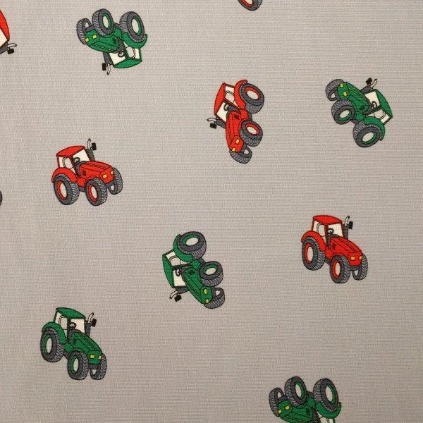 Žerzej úplet dovoz červené barevné zelené traktory auta šedá béžová na šití oblečení