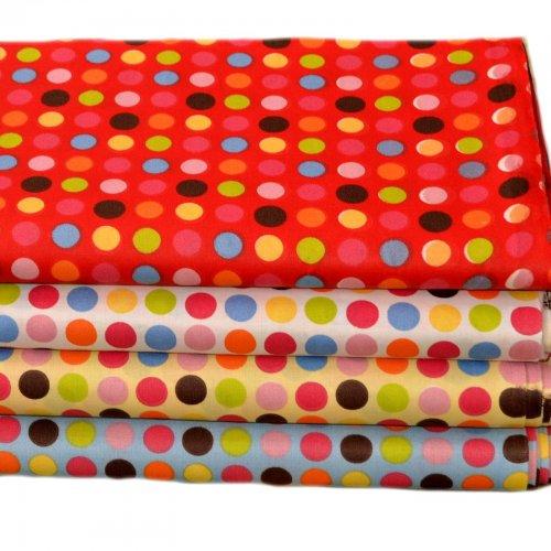 Látka bytové doplňky barevná puntíky