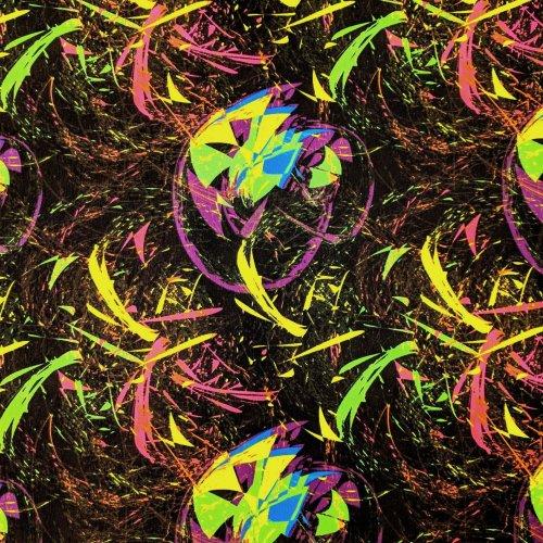 Elastická bavlněná látka na šaty neon barevný ohňostroj firework abstrakce
