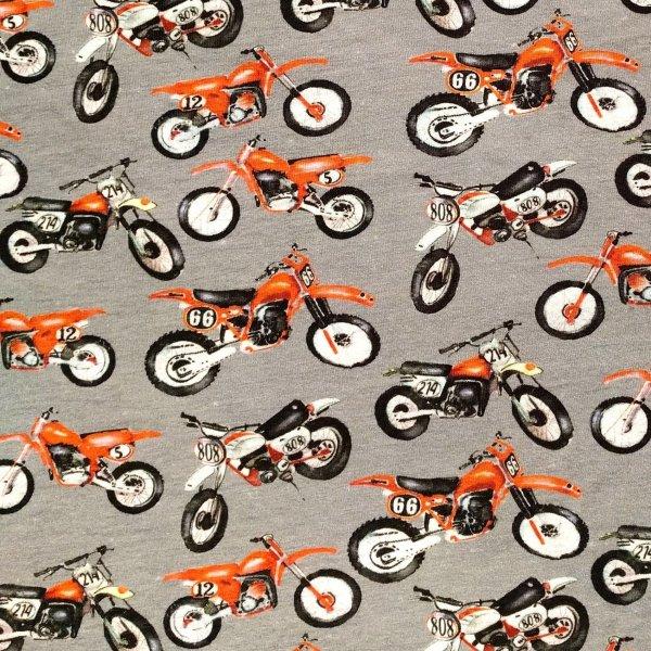 Dětský úplet metráž digitální tisk oranžová terénní cross motorka šedá na trika
