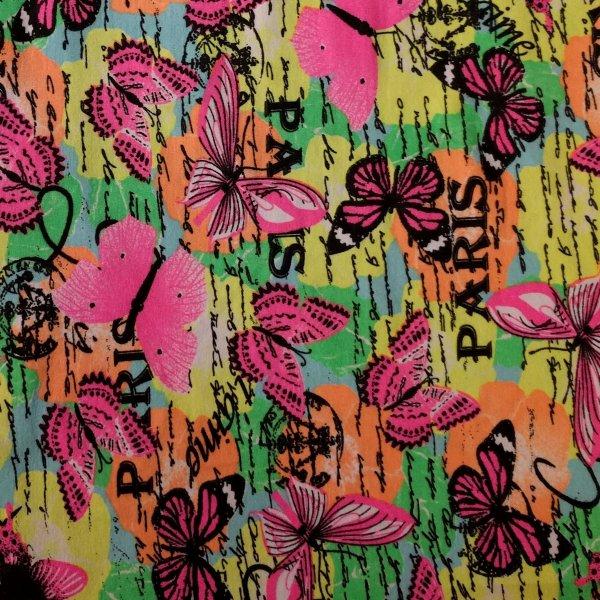 Motýlkový úplet žerzej oboulíc dovoz elastický neonová motýli na šaty legíny