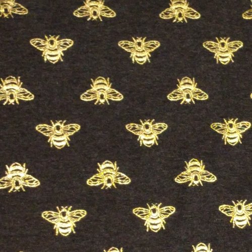 Elastický úplet s metalickým tiskem žerzej včely zlaté mouchy tmavá šedá