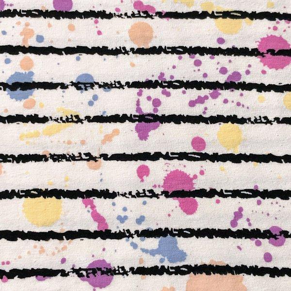 Žerzej látka měnící barvu proužky bílá barevné kapky kaňky na šití oblečení trik