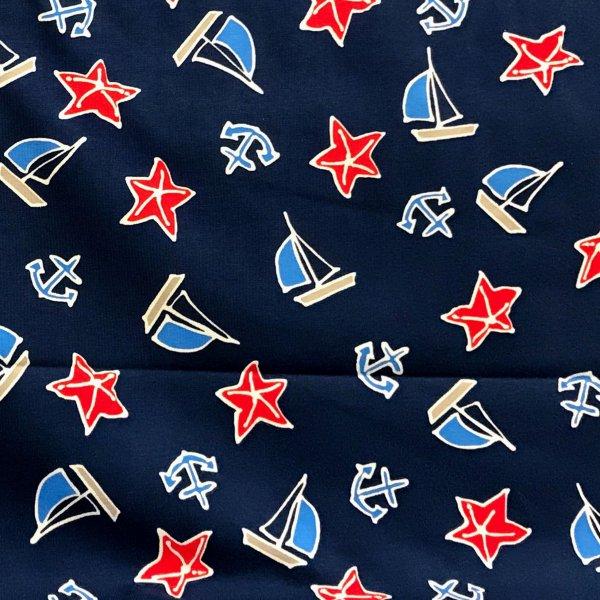 Elastický bavlněný úplet tmavě modrá moře námořní látka hvězdice plachetnice lodě kotvy