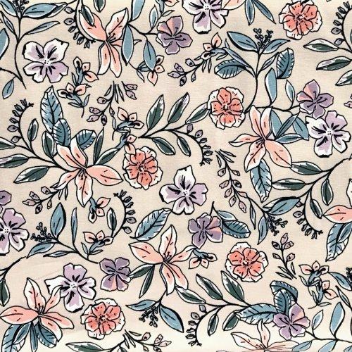 Látka metráž úplet vintage vzor květiny rostliny lístky na béžové na šití letních šatů