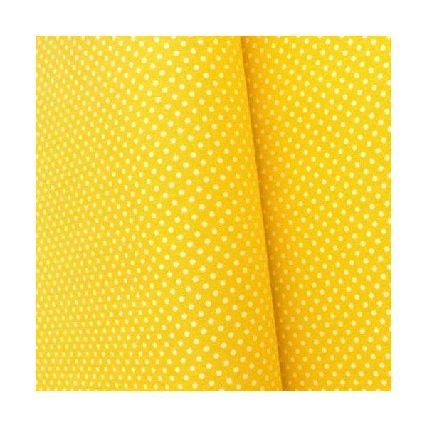 Plátno metráž žlutá tečky patchwork