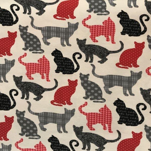 Úplet metráž žerzej kočky obrysy stíny červená černá šedá na béžovém podkladu