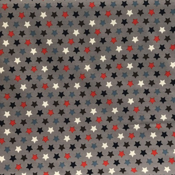 Metráž úplet látka dovozová elastická pružná černé červené bílé hvězdičky na šedé