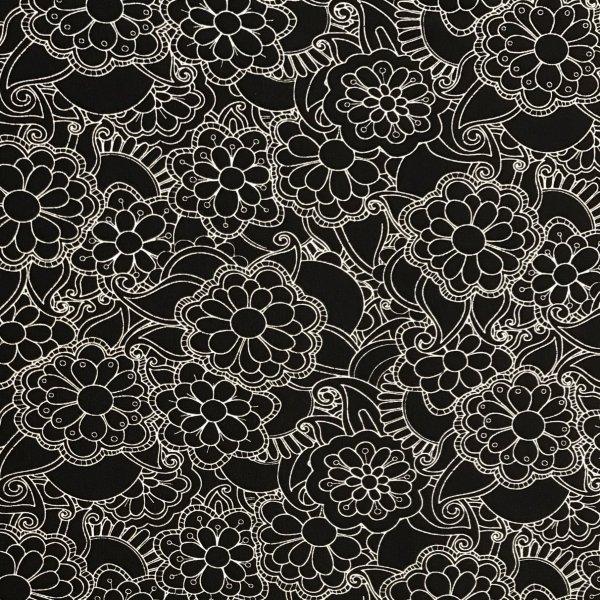 Elastická látka úplet bílé kreslené květy velké na černé na šití trik kalhot šatů sukní