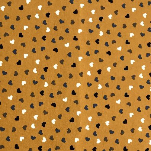 Pružný úplet metráž srdíčka malá šedá černá bílá na hořčicové okrové žluté