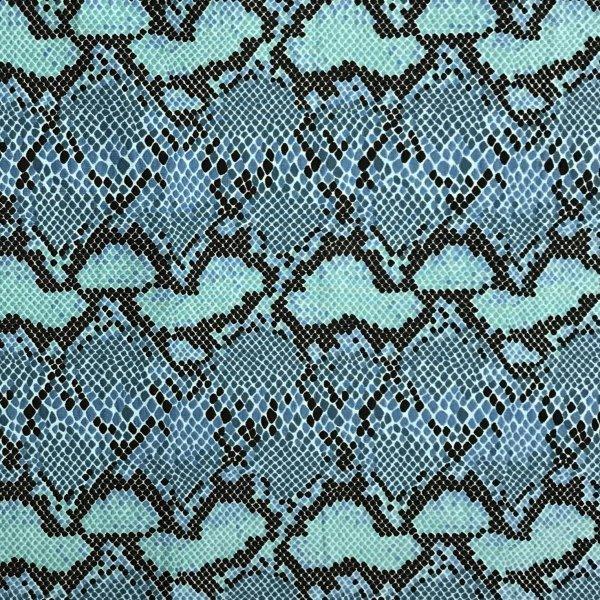 Úplet jersey metráž tyrkysová modrá hadí kůže imitace přesná na šití oblečení sukní