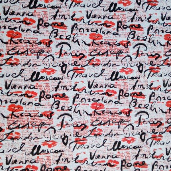 Elastická teplákovina metráž polyester travel europe prague polibky pusy červené šedá