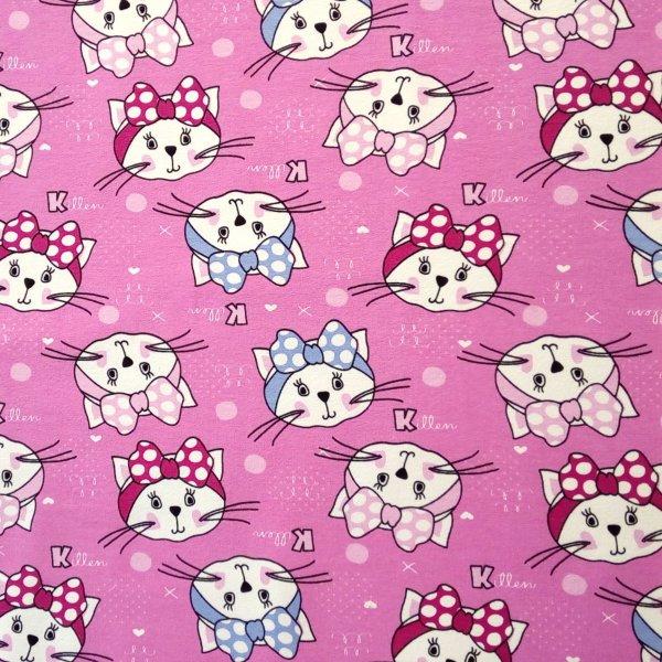 Látka tenká teplákovina kočka killen hello kitty na růžové miminkovské