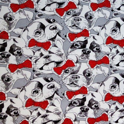 Tenká teplákovina metráž černobílí šedí psi červené mašle motýlci na kalhoty tepláky