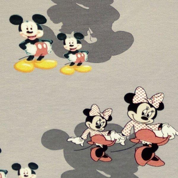 Elastická tenká teplákovina mickey mouse myška minne na šedé disney
