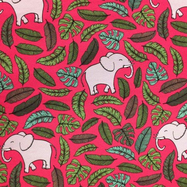 Elastická tenká teplákovina kreslení sloni krásní lístky listí kapradí na růžové fuchsiové