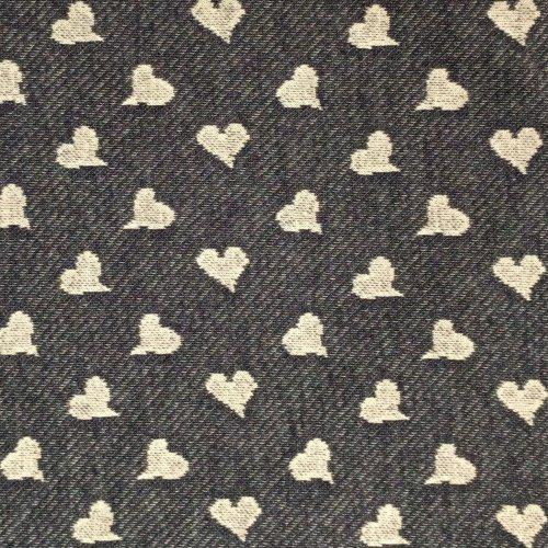 Elastická tenká teplákovina riflově modrá denim blue srdíčka srdce na šití kalhot mikin