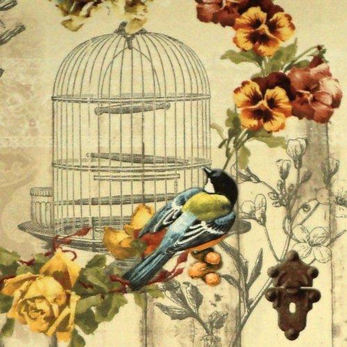 Látka dovozová ptáček sýkorka klec květy béžová