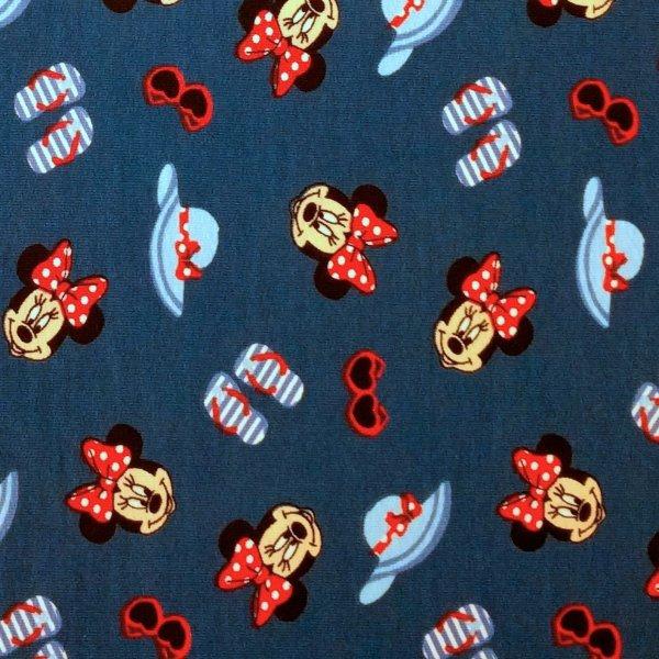 Tenká teplákovina metráž myška Minnie hlavy klobouk brýle tmavě modrá Disney postavička