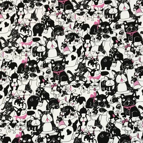 Látka tenká teplákovina bílá černá růžová francouzský buldoček bostonský teriér psi pejsci