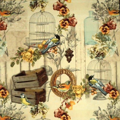 Látka metráž ptáčci s květinami vintage žlutá voliéra