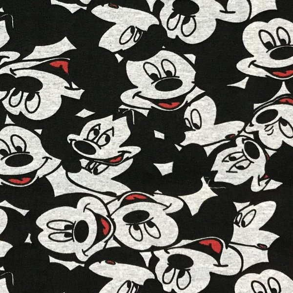 Teplákovina elastická látka šedá hlavy Disney postavičky Mickey Mouse