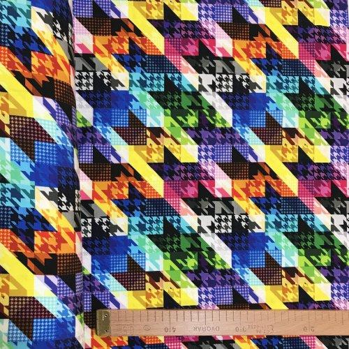 Teplákovina látka metráž barevné krystaly kosočtverce šipky déšť